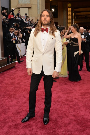 Worst: Jared Leto's mismatched Saint Lauren suit was sloppy and strange, especially with his messy ombre hair.