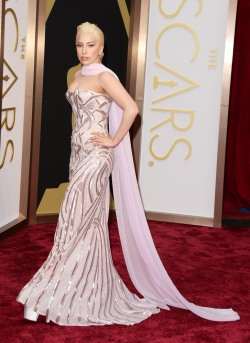 Best: This pale pink and gold detailed gown looked great on Lady Gaga, and accentuated her curves in a classy way. The cape part adds a regal feeling to the ensemble.