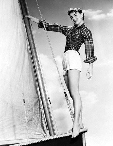 Audrey Hepburn Standing on Sailboat