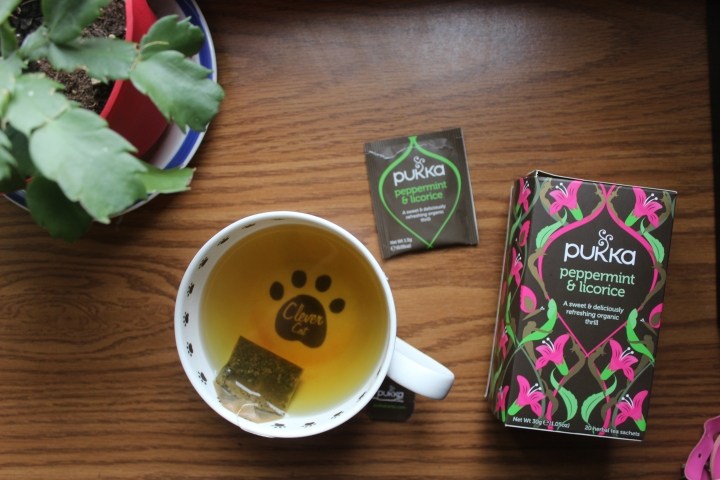 Pukka Licorice Mint tea + a new cat mug