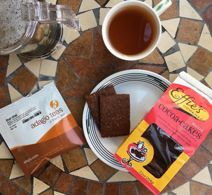 Tea review: Adagio Thai Chai + Effie's cocoa coconutbiscuits